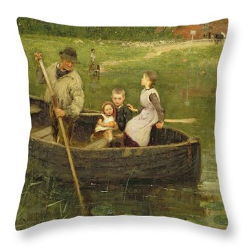 The Ferry Throw Pillow by Edward Stott