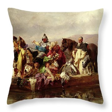 The Ferry  Throw Pillow by Johann Till