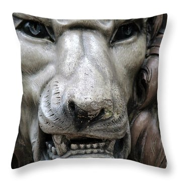 Throw Pillow featuring the photograph The Fierce Lion  by Kathy  White