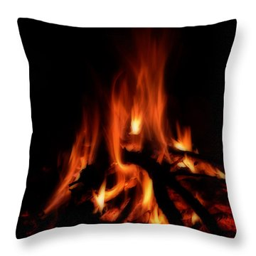 The Fire Throw Pillow by Donna Greene