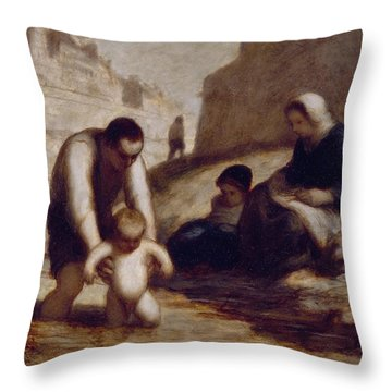 The First Bath  Throw Pillow by Honore Daumier