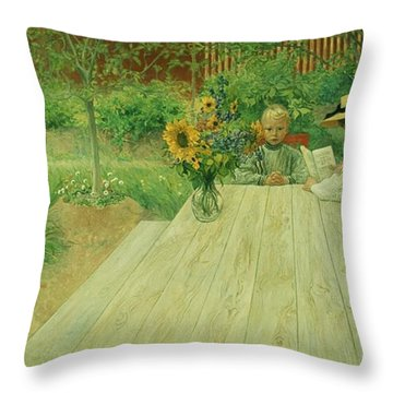 The First Lesson Throw Pillow by Carl Larsson
