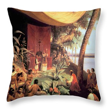 The First Mass Held In The Americas Throw Pillow by Pharamond Blanchard
