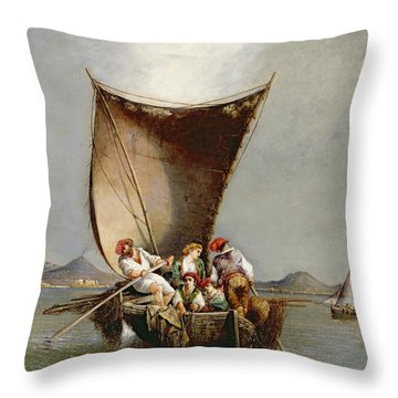 The Fisherman's Family Throw Pillow by Consalvo Carelli