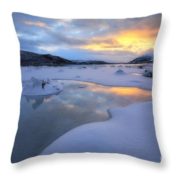 The Fjord Of Tjeldsundet In Troms Throw Pillow by Arild Heitmann