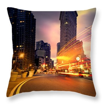 The Flat Iron Building With Some Magic Happening Throw Pillow by John Farnan