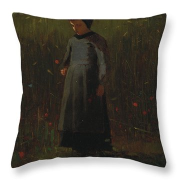 The Flowers Of The Field Throw Pillow by Winslow Homer