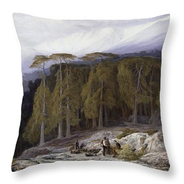 The Forest Of Valdoniello - Corsica Throw Pillow by Edward Lear