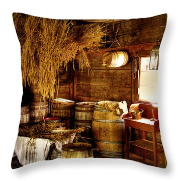 The Fort Nisqually Granary Throw Pillow by David Patterson