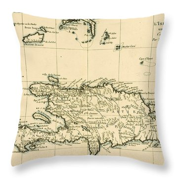The French And Spanish Colony Of The Island Of St Dominic Of The Greater Antilles Throw Pillow by Guillaume Raynal