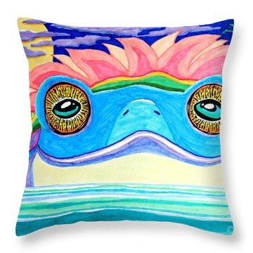 The Frog King Throw Pillow