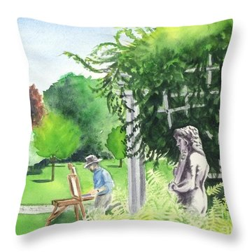 Throw Pillow featuring the painting the garden at the wellers carriage house in Saline  Michigan 1 by Yoshiko Mishina