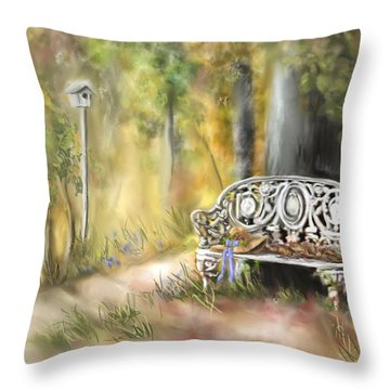Throw Pillow featuring the painting The Garden Bench by Bonnie Willis