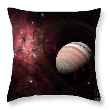 The Gas Giant Carter Orbited By Its Two Throw Pillow by Brian Christensen