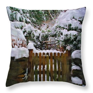 The Gate Throw Pillow by Amanda Moore