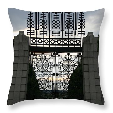 The Gate Throw Pillow by Nina Fosdick