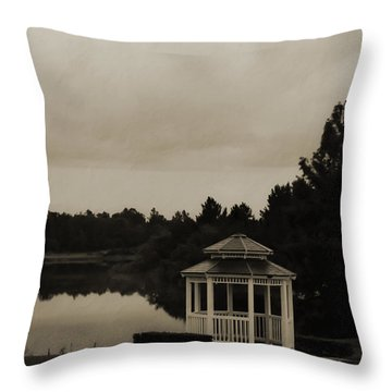 Throw Pillow featuring the photograph The Gazebo At The Lake by DigiArt Diaries by Vicky B Fuller