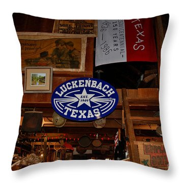 The General Store In Luckenbach Tx Throw Pillow by Susanne Van Hulst