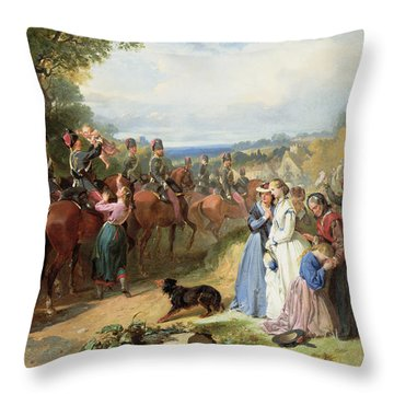 The Girls We Left Behind Us - The Departure Of The 11th Hussars For India Throw Pillow by Thomas Jones Barker