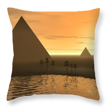 Throw Pillow featuring the digital art The Giza Necropolis by Phil Perkins