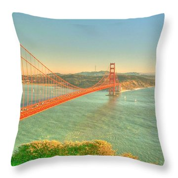 The Golden Gate Bridge  Fall Season Throw Pillow by Alberta Brown Buller