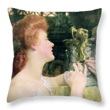 The Golden Hour Throw Pillow by Sir Lawrence Alma-Tadema
