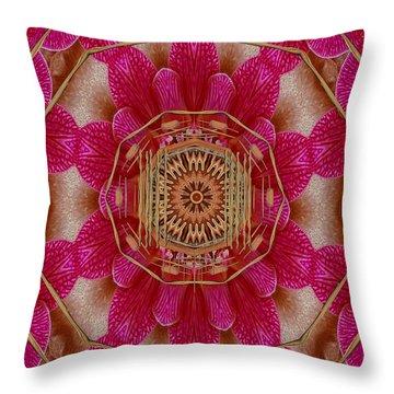 The Golden Orchid Mandala Throw Pillow