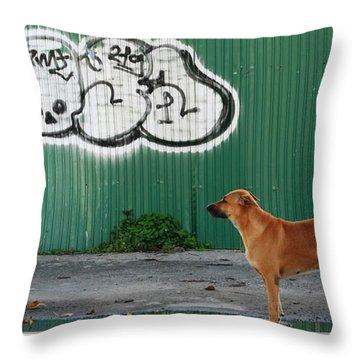 The Graffiti Artist Throw Pillow by Nola Lee Kelsey