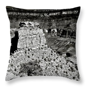 The Grand Canyon Bw Throw Pillow by Bob and Nadine Johnston