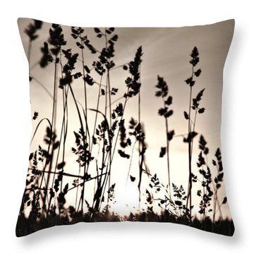 The Grass At Sunset Throw Pillow