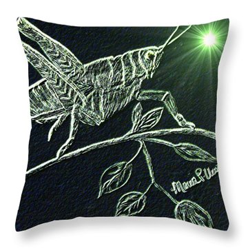 Throw Pillow featuring the drawing The Grasshopper by Maria Urso