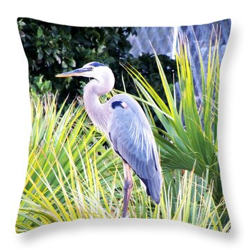 The Great Blue Heron Throw Pillow by Marilyn Holkham