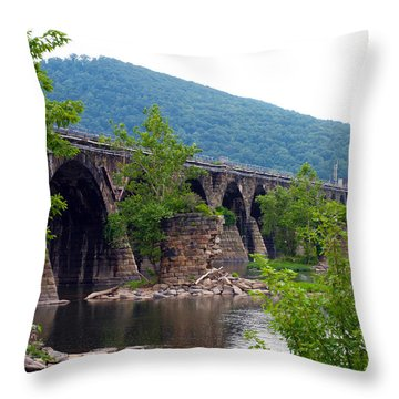 The Great Old Bridge Throw Pillow by Robert Margetts