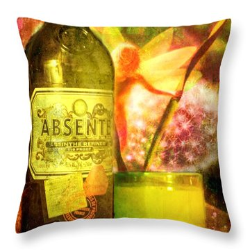 The Green Fairy Throw Pillow by Leah Moore