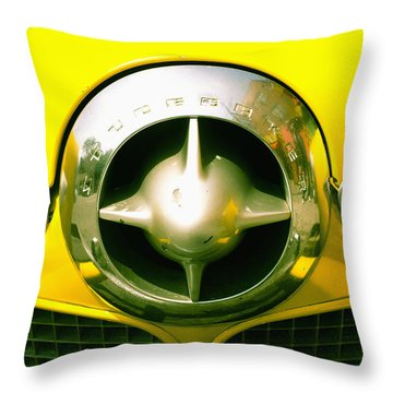 The Grill Of A Yellow Studebaker Car Throw Pillow by David DuChemin