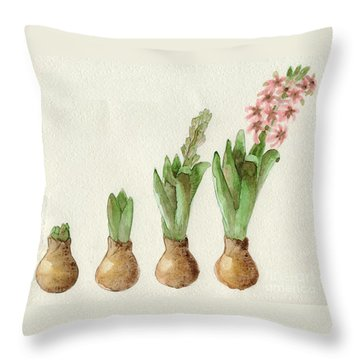 Throw Pillow featuring the painting The Growth Of A Hyacinth by Annemeet Hasidi- van der Leij