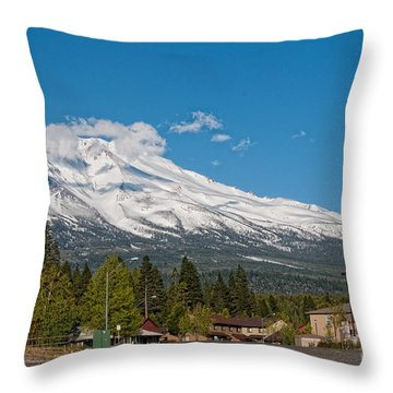 The Heart Of Mount Shasta Throw Pillow by Carol Ailles