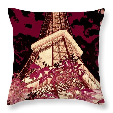 The Heart Of Paris - Digital Painting Throw Pillow by Carol Groenen