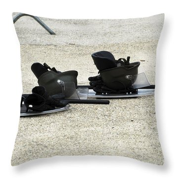 The Helmet, Shield And Baton Used Throw Pillow by Luc De Jaeger