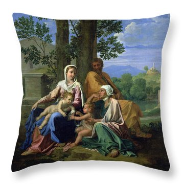 The Holy Family With Ss John Elizabeth And The Infant John The Baptist Throw Pillow by Nicolas Poussin
