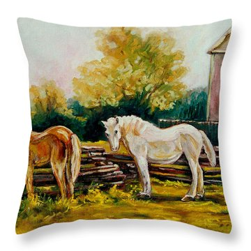 The Horse Ranch Eastern Townships Quebec Throw Pillow by Carole Spandau