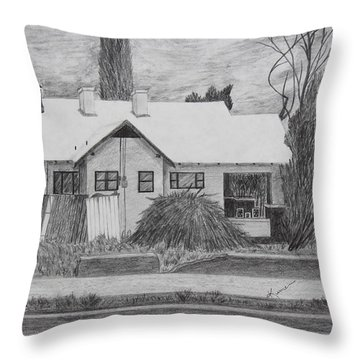 Throw Pillow featuring the drawing The House Across by Kume Bryant
