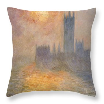 The Houses Of Parliament At Sunset Throw Pillow by Claude Monet