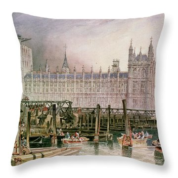 The Houses Of Parliament In Course Of Erection Throw Pillow by John Wilson Carmichael