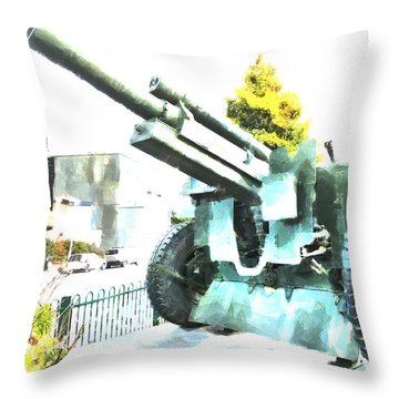 The Howitzer 105mm Field Gun Carriage Throw Pillow