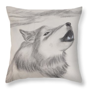 Throw Pillow featuring the drawing The Howler by Maria Urso