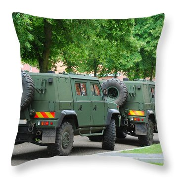 The Iveco Lmv Of The Belgian Army Throw Pillow by Luc De Jaeger