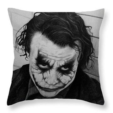 The Joker Throw Pillow by Carlos Velasquez Art