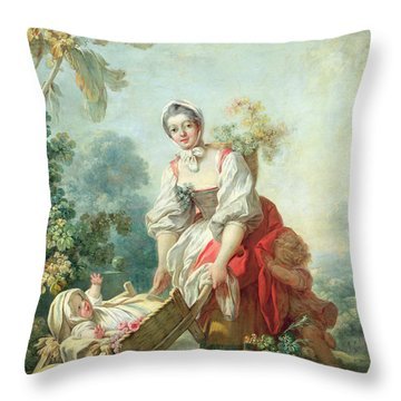 The Joys Of Motherhood Throw Pillow by Jean-Honore Fragonard
