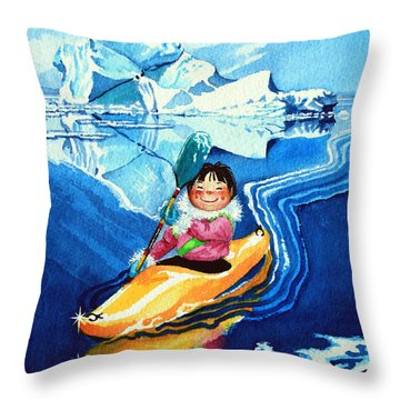 The Kayak Racer 13 Throw Pillow by Hanne Lore Koehler